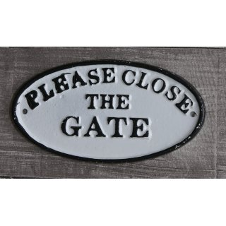 Wandschild Gusseisen- Please close the gate